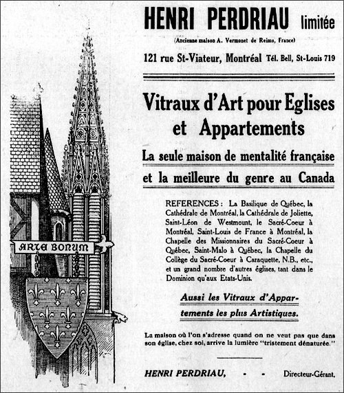 advertisement of Henri Perdriau, Le Devoir, 1912