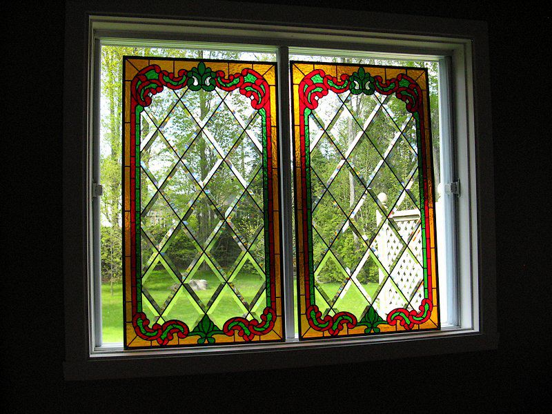 Transparent bevels stained glass windows