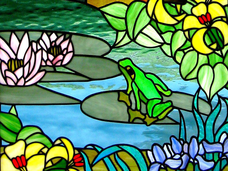 Details of a stained glass window