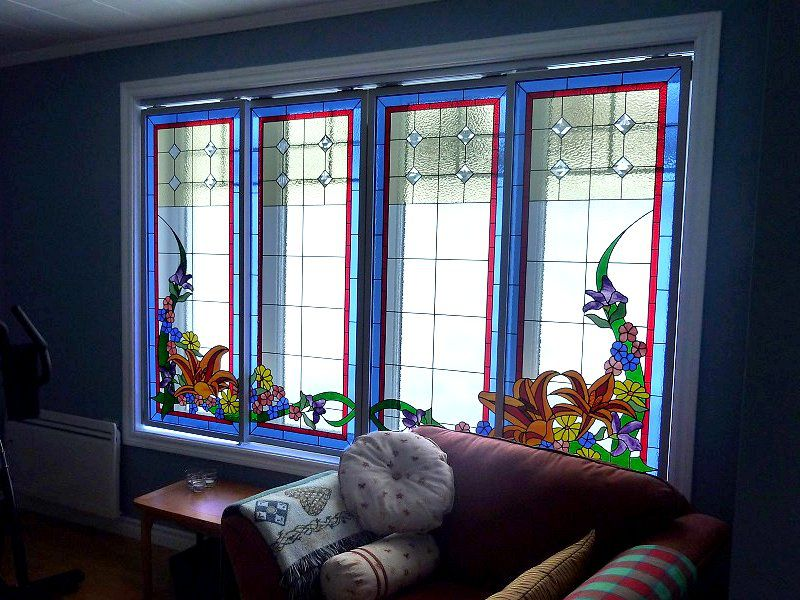 Rail mounted stained glass windows