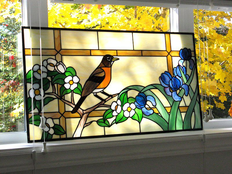 Stained glass window «American Robin»