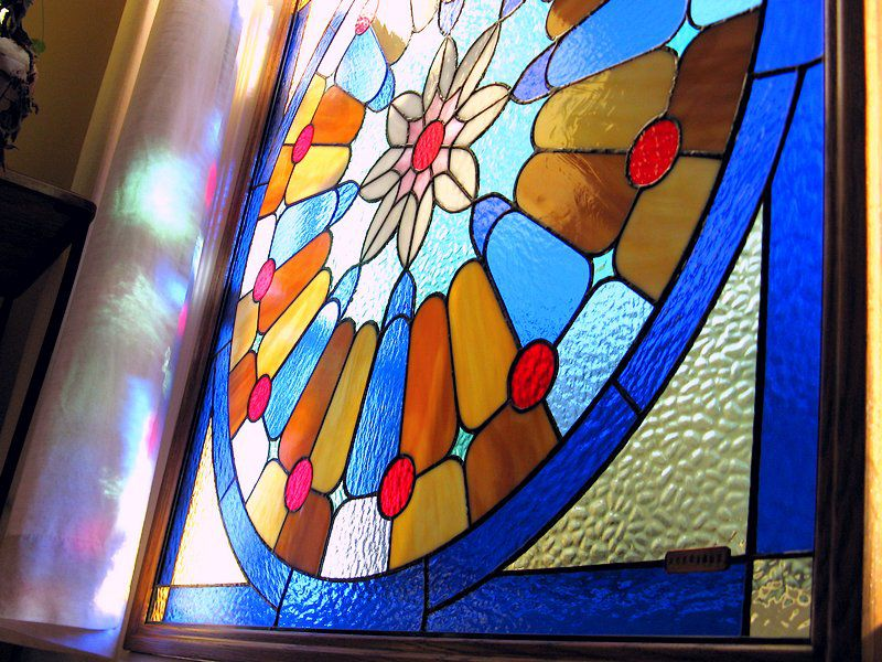 Strong light diffusing glass on this rose window