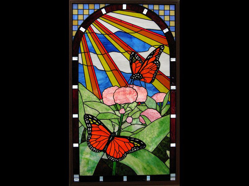 All opalescent stained glass panel