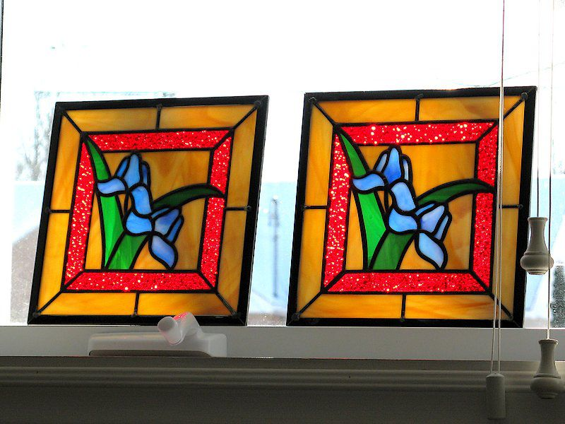Cabinet doors stained glass panels
