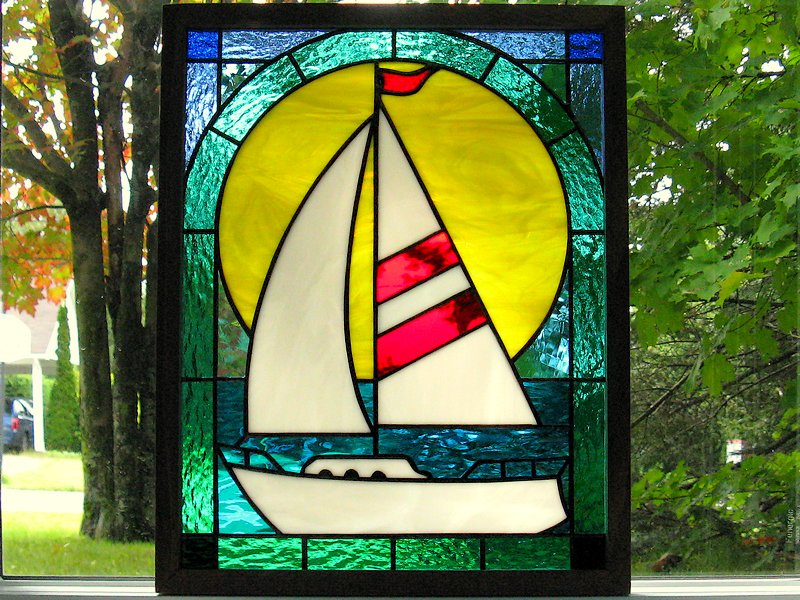 Small panel with sailboat pattern