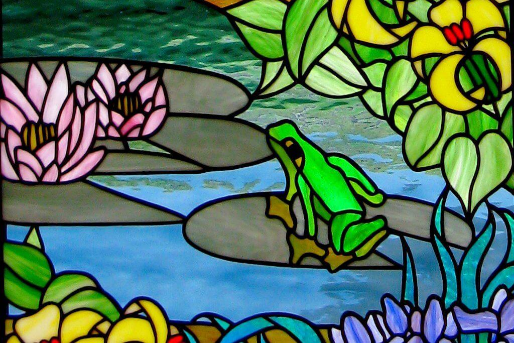 détail du vitrail La vie au marais