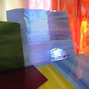 detail of opalescent glass